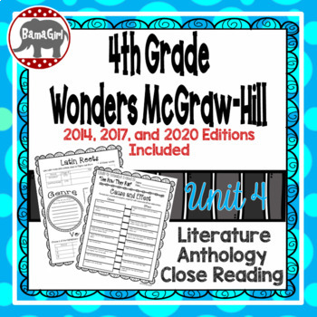 Wonders McGraw Hill 4th Grade Close Reading (Literature Anthology Book) - Unit 4