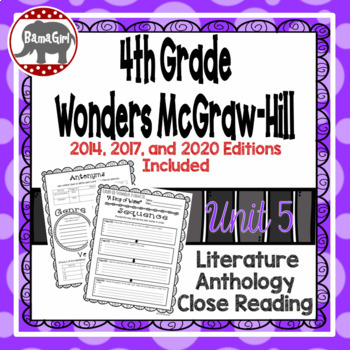 Wonders McGraw Hill 4th Grade Close Reading (Literature Anthology Book) - Unit 5
