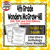 Wonders McGraw Hill 4th Grade Close Reading Literature Anthology Unit 1-6 Bundle
