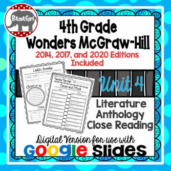 Wonders McGraw Hill 4th Grade Close Reading Literature Anthology Unit 4 DIGITAL