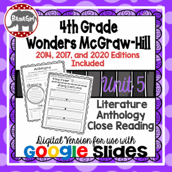 Wonders McGraw Hill 4th Grade Close Reading Literature Anthology Unit 5 DIGITAL