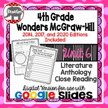 Wonders McGraw Hill 4th Grade Close Reading Literature Anthology Unit 6 DIGITAL