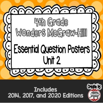 Wonders McGraw Hill 4th Grade Essential Question Posters - Unit 2