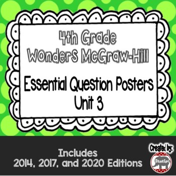 Wonders McGraw Hill 4th Grade Essential Question Posters - Unit 3