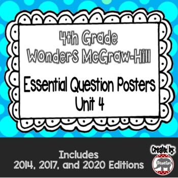 Wonders McGraw Hill 4th Grade Essential Question Posters - Unit 4