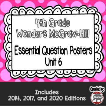 Wonders McGraw Hill 4th Grade Essential Question Posters - Unit 6