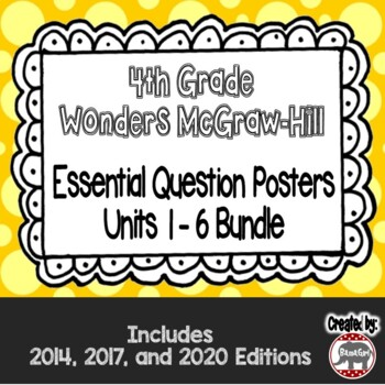 Wonders McGraw Hill 4th Grade Essential Question Posters - Units 1-6 **Bundle**