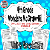 Wonders McGraw Hill 4th Grade Newsletter/Study Guide - Unit 4 (Weeks 1-5)