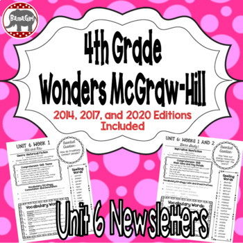 Wonders 2020, 2017, 2014 McGraw Hill 4th Grade Newsletters/Study Guide - Unit 6