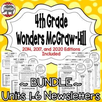 Wonders McGraw Hill 4th Grade Newsletter/Study Guide - Units 1-6 **Bundle**