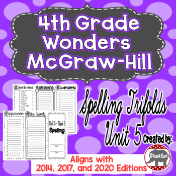 Wonders McGraw Hill 4th Grade Spelling Trifolds - Unit 5