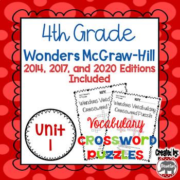 Wonders McGraw Hill 4th Grade Vocabulary Crossword Puzzles - Unit 1
