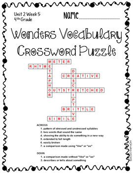 Wonders McGraw Hill 4th Grade Vocabulary Crossword Puzzles - Unit 2