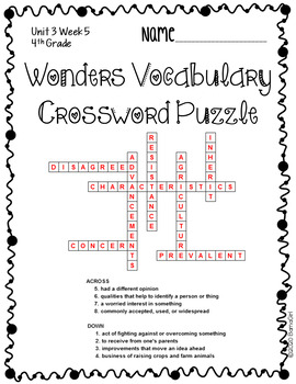 Wonders McGraw Hill 4th Grade Vocabulary Crossword Puzzles - Unit 3