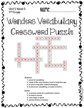 Wonders McGraw Hill 4th Grade Vocabulary Crossword Puzzles - Unit 5