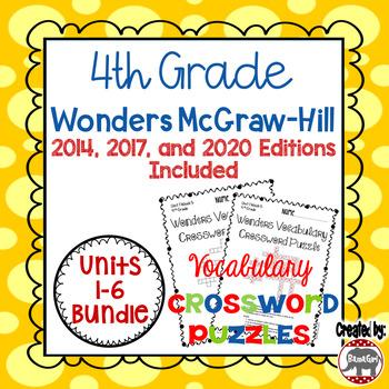 Wonders McGraw Hill 4th Grade Vocabulary Crossword Puzzles - Units 1-6 Bundle