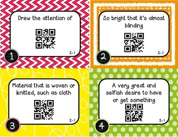 Wonders McGraw Hill 4th Grade Vocabulary QR Code Flashcards - Unit 2