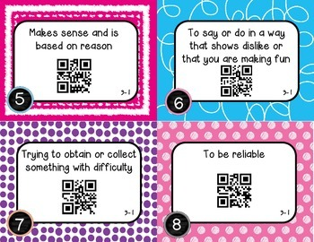 Wonders McGraw Hill 4th Grade Vocabulary QR Code Flashcards - Unit 3