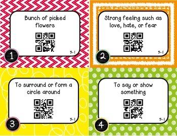 Wonders McGraw Hill 4th Grade Vocabulary QR Code Flashcards - Unit 5