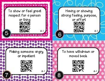 Wonders McGraw Hill 4th Grade Vocabulary QR Code Flashcards - Unit 6