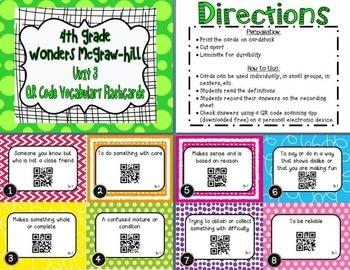 Wonders McGraw Hill 4th Grade Vocabulary QR Code Flashcards - Units 1-6 *Bundle*