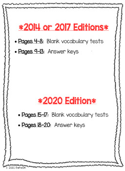 Wonders McGraw Hill 4th Grade Vocabulary Tests - Unit 1