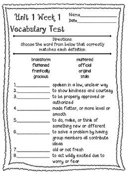 Wonders McGraw Hill 4th Grade Vocabulary Tests - Unit 1