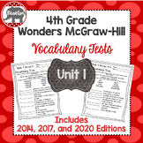 Wonders 2020, 2017, and 2014 McGraw Hill 4th Grade Vocabulary Tests - Unit 1