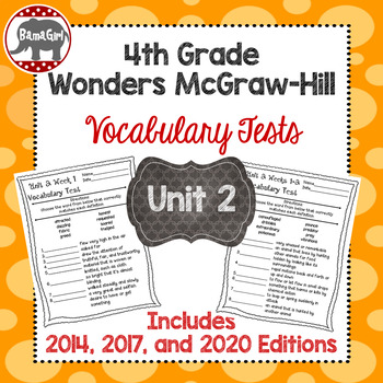 Wonders McGraw Hill 4th Grade Vocabulary Tests - Unit 2