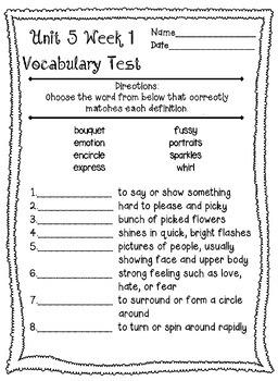 Wonders McGraw Hill 4th Grade Vocabulary Tests - Unit 5