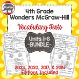 Wonders 2020, 2017, 2014 McGraw Hill 4th Grade Vocabulary Tests Units 1-6 Bundle