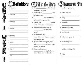 Wonders McGraw Hill 4th Grade Vocabulary Trifold - Unit 1