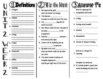 Wonders McGraw Hill 4th Grade Vocabulary Trifold - Unit 2