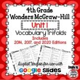 Wonders McGraw Hill 4th Grade Vocabulary Trifold - Unit 1 DIGITAL