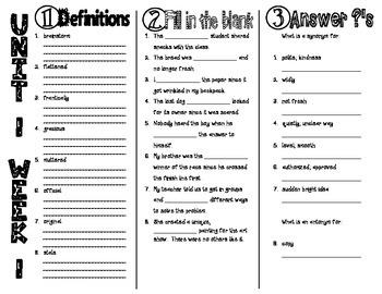 Wonders McGraw Hill 4th Grade Vocabulary Trifold - Unit 1 Week 1
