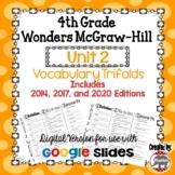 Wonders McGraw Hill 4th Grade Vocabulary Trifold - Unit 2 DIGITAL