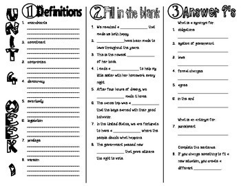 Wonders McGraw Hill 4th Grade Vocabulary Trifold - Unit 4 by BamaGirl