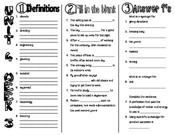 Wonders McGraw Hill 4th Grade Vocabulary Trifold - Unit 4