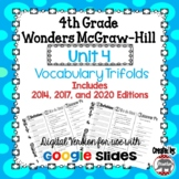 Wonders McGraw Hill 4th Grade Vocabulary Trifold - Unit 4 DIGITAL