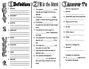 Wonders McGraw Hill 4th Grade Vocabulary Trifold - Unit 5