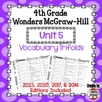 Wonders McGraw Hill 4th Grade Vocabulary Trifold - Unit 5