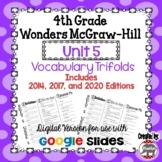Wonders McGraw Hill 4th Grade Vocabulary Trifold - Unit 5 DIGITAL