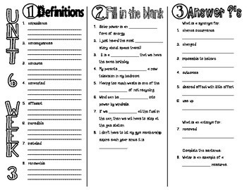 Wonders McGraw Hill 4th Grade Vocabulary Trifold - Unit 6