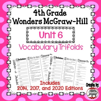 Wonders McGraw Hill 4th Grade Vocabulary Trifold - Unit 6