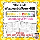 Wonders McGraw Hill 4th Grade Vocabulary Trifold - Units 1-6 **Bundle**