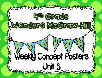 Wonders McGraw Hill 4th Grade Weekly Concept Posters - Unit 3