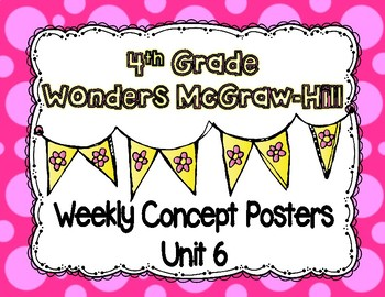Wonders McGraw Hill 4th Grade Weekly Concept Posters - Unit 6