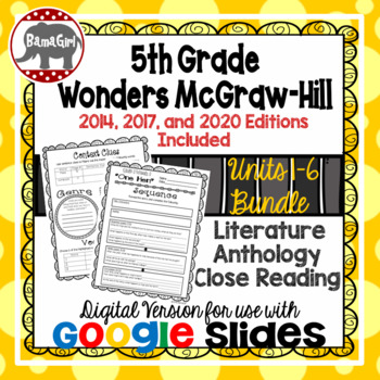 Wonders McGraw Hill 5th Grade Close Read Literature Anthology Units 1-6 DIGITAL