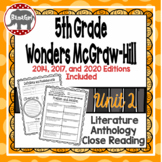 Wonders McGraw Hill 5th Grade Close Reading (Literature Anthology Book) - Unit 2