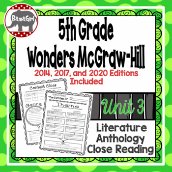 Wonders McGraw Hill 5th Grade Close Reading (Literature Anthology Book) - Unit 3